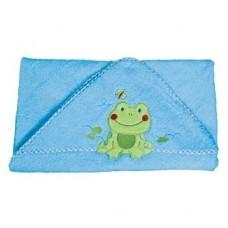 Prosop special pentru bebelusi cu gluga- albastru cu broscuta