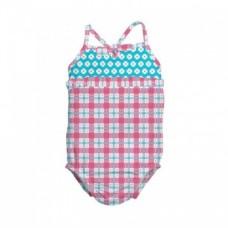 Costum de baie fetita cu scutec inot integrat IPlay Pink Squares SPF50+