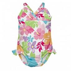Costum de baie fetita cu scutec inot integrat IPlay Multicolor  SPF50+