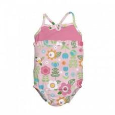 Costum de baie fetita cu scutec inot integrat IPlay Pink Flowers SPF50+