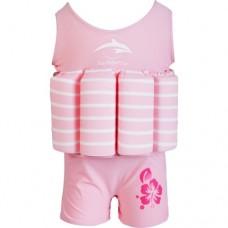 Costum inot copii cu sistem de flotabilitate ajustabil pink stripe