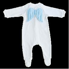 Salopeta alba cu aripii albastre, cu maneca lunga si pantaloni cu piciorus