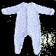 Salopeta alba cu amprente albastre cu maneca lunga si pantaloni cu piciorus