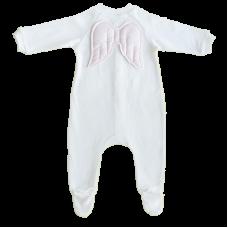 Salopeta alba cu aripi roz, cu maneca lunga si pantaloni cu piciorus