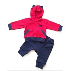 Costum sportiv rosu cu albastru inchis