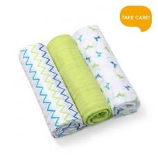 Set 3 scutece textile bumbac - verde