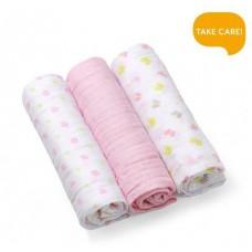 Set 3 scutece textile bumbac - pink