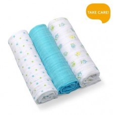 Set 3 scutece textile bumbac - blue
