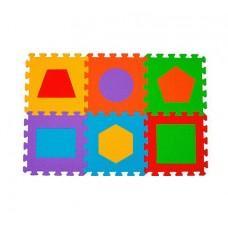 Covoras din spuma  Puzzle Figuri geometrice 6 buc