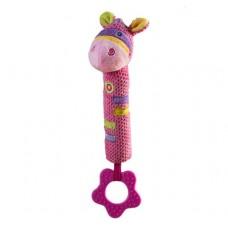 Jucarie chitaitoare cu inel gingival Zebra pink