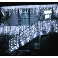 Instalatie luminoasa de craciun 300 leduri, 13 m, 8 functii, exterior/interior, tip perdea de turturi alb rece