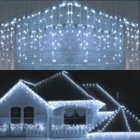 Instalatie luminoasa craciun 500 leduri cu telecomanda, 23 m, 8 functii, exterior/interior, tip perdea de turturi alb rece