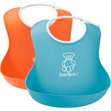Set 2 bavete Soft Bib, Orange/Turquoise