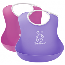 Set 2 bavete Soft Bib, Pink/Purple