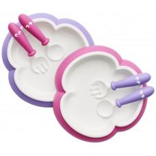 2 Seturi hranire: farfurie, lingurita si furculita pentru bebe, pink / purple